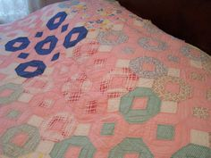 Antique Hand Stitched Quilt, Pink, Octagons, Diamonds, 1910s-1920s by TeresasTreasuresEtc on Etsy