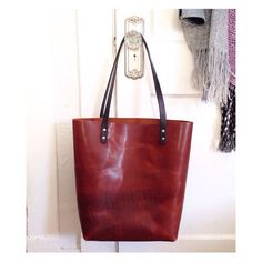 Large Brown Leather Handmade Tote • Rustic Brown Leather Bag by Hatton Henry