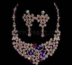 Ensembles de bijoux de mariée, boucle d'oreille & collier, alliage de zinc, avec verre, Placage de couleur d'or, avec strass, protéger l'environnement, sans nickel, plomb et cadmium, 4.5x8.2cm, 3.5x6.3cm, Longueur:18-23 pouce