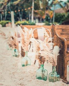 Soft beachy sands wooden benches and pompass grass. The best combination for that perfect beach wedding day! Tag a bride who would totally agree! Fine Art Wedding Photography & Styling: Planning and Design: Venue: Florals: Bohemian Beach Wedding, Beach Wedding Reception, Beach Wedding Inspiration, Beach Ceremony, Beach Wedding Decorations, Bohemian Bride, Wedding Day, Beach Weddings, Wedding Bride