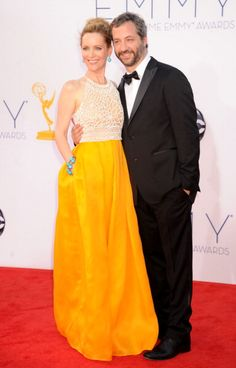 The 2012 Emmys Red Carpet: Leslie Mann in Naeem Khan with Judd Apatow LOVE this color