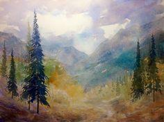 Watercolor Landscape, Rocky Mountains, Art Studios, Scenery, Paintings, Fine Art, Artist, Paisajes, Landscape