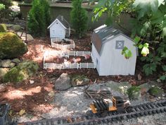 Farm by the garden railroad Garden Railroad, Miniature Plants, Fairy Gardens, Water Features, Scale Models, Fairies, Trains, Shed, Layout