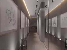 A hallway is a design necessity, but this one is made more welcoming with the addition of mirrored walls and interesting line drawings. The hallway feels bigger from the reflections and the drawings add much-needed personality.
