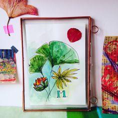 dessin aquarelle et fleur séchée dans cadre copper - Sophie Plouvier