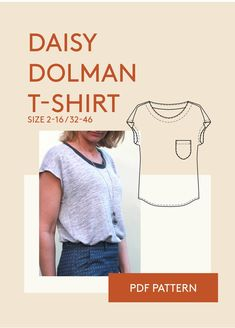 Relaxed fit easy to sew T-shirt with dolman sleeve. The Daisy Dropped shoulder T-shirt is a classic dolman blouse PDF sewing pattern for women.