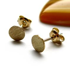 Earstuds round plate 6mm by ajjstudios on Etsy
