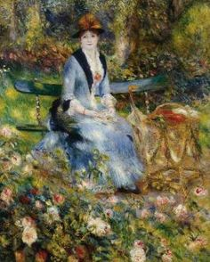 """In the Roses (Portrait of Madame Clapisson)"" in 1882 by Pierre-Auguste Renoir (1841-1919). Oil on canvas (100x81cm). Private Collection (sold for $23.5 million to casino businessman Steve Wynn). Leon Clapisson commissioned Renoir to paint a portrait of his wife, this portrait was rejected as too impressionist, a second portrait in 1883 was accepted. The works of his early maturity were typically Impressionist snapshots of real life, full of sparkling colour and light."