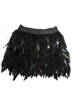 feathered mini skirt
