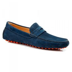 Men's Suede Loafers #aquila #loafers #suede #callumblue #redsole #fashion