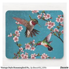 Vintage Style Hummingbird Painting Mouse Pad Hummingbird Painting, Vintage Fashion, Vintage Style, Bird Patterns, Chalk Paint Furniture, Custom Mouse Pads, Beautiful Gifts, Teal Colors, Inspirational Gifts