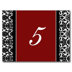 Wedding Table Number Cards Red Damask Post Card