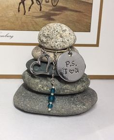 PS I Love you More Rock Cairn Zen Garden by CedarwoodCreations