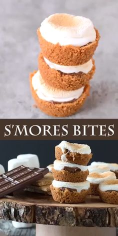 S'mores Bites - a twist on the classic dessert, make these little S'mores Bites in the oven! Mini Desserts, Classic Desserts, Quick Dessert Recipes, Easy Cookie Recipes, Sweet Recipes, Smores Dessert, Smores Cups, Yummy Treats, Sweet Treats
