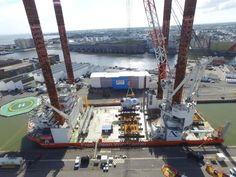 GE Reports provides stunning images of wind turbines, install ship getting ready to shove off in France. The Brave Tern was in Saint-Nazaire harbor loading wind turbines for Block Island. Photo GE Renewable Energy