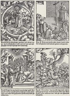 Artist: Cranach d. Ä., Lucas, Title: Vier Illustrationen zu Vater Unser: Erschaffung der Welt, Gottesdienst, Pfingstfest, Kreuztragung, Date: 1527