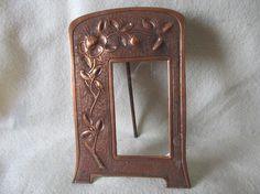 Antique Art Nouveau Copper Picture Frame with Repousse Flowers