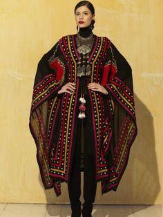 Ceremonial Robe Cover Up - Roja – Ann Tobias Tribal Fashion, Boho Fashion, Fashion Looks, Fashion Outfits, Womens Fashion, Fashion Design, Gypsy Style, My Style, Iranian Women Fashion