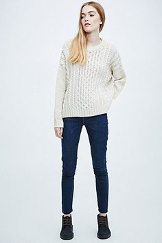 BDG Cable Knit Jumper in Ivory - Urban Outfitters
