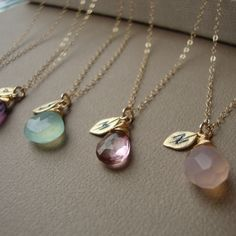 Bridesmaids Necklaces SET of FIVE - Stone and Initial ALL Gold Filled Lovely Gift, Bridal Party, Stamped Leaf, maid of honor,. $145.00, via Etsy.