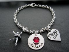 Childrens Personalized Bracelet Flower Girl by ShinyMetals on Etsy