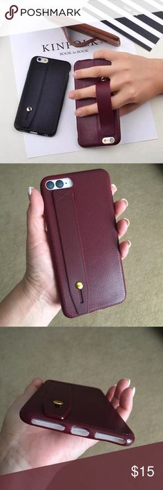 Burgundy • iPhone 7 Plus Case Faux leather look/design phone case in a beautiful burgundy wine color! Case is made of a soft bendable plastic material and comes with a convenient hold strap that can also serve as a stand. Fits the iPhone 7 Plus. Accessories Phone Cases