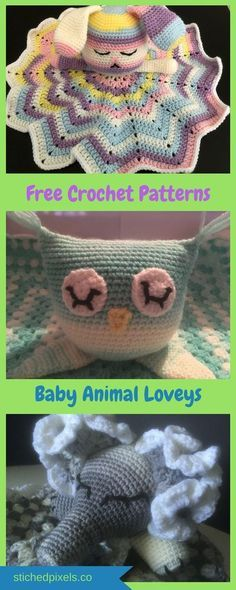Free crochet pattern collection! Super cute baby animal loveys! Great gift for any baby shower!