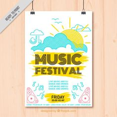 Hand drawn cheerful music festival poster Free Vector