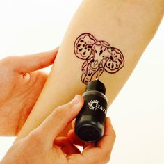 Temporary tattoo kit that lasts up to 2 weeks. Trace our stencil designs or create your own tattoos! Available now!!!