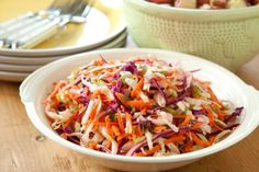 If possible, prepare this coleslaw ahead of time and refrigerate it for a few hours before serving to let the flavors come together. Serve alongside  Apple Cheddar Quesadillas, if you like. Ingredients with an asterisk (*) are available in the  Whole Foods Market Family of Brands.