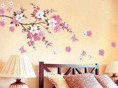 Japanese Pink Cherry Blossom Tree with Butterflies Removable Vinyl ...