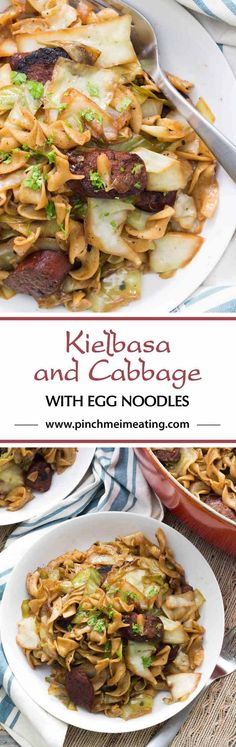 Kielbasa and cabbage with egg noodles is the perfect comfort food for an easy weeknight dinner! Buttery, smokey, and a little sweet for a flavor that can't be beat!