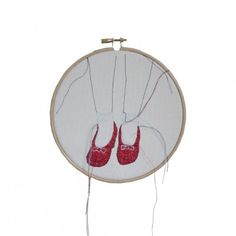 Ruby red slippers - embroidery in hoop Free Motion Embroidery, Embroidery Art, Ruby Red Slippers, Contemporary Embroidery, Hoop, Hula Hoop, Modern Embroidery