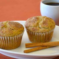Cinnamon muffins that have a touch of tartness and sweetness from fresh rhubarb.