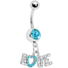 This sparkling love script belly ring is set on a single gem stainless steel curved barbell. Belly Button Piercing Rings, Cute Belly Rings, Bellybutton Piercings, Belly Button Jewelry, Dangle Belly Rings, Tongue Piercings, Cartilage Piercings, Navel Piercing, Nose Rings