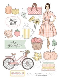 Printable Stickers, Printable Planner, Planner Stickers, Printables, Bullet Journal Work, Autumn Illustration, Vsco Pictures, Retro Girls, Aesthetic Drawing