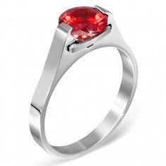 """Prsten z oceli - červený měsíční kámen """"Leden"""", postranní úchyty"""