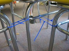 WHY did I not think of this before?! Zip-tie student desks together so that they don't scatter away from each other during the day. Bonus tip: put a square of masking tape on the floor for one student at each cluster to place a specific chair leg on. If that student aligns her desk, all the others in her cluster will follow. Saw this done w bun give cords today! Worked well for groups of six!