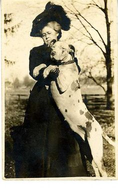 1900s. Lady with dog