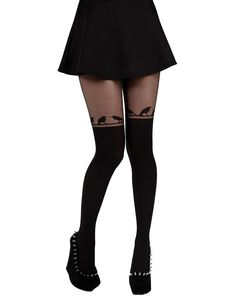 BIRD ON A LINE OVER KNEE TIGHTS