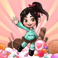 Vanellope Von Shweetz in the land of sweets in Sugar Rush Disney Vans, Disney Nerd, Disney Fan Art, Cute Disney, Disney Wiki, Disney And Dreamworks, Disney Movies, Disney Drawings, Cute Drawings