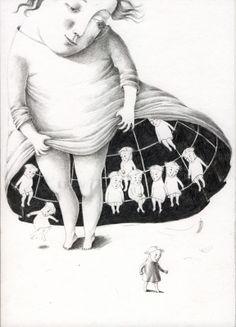 """Joanna Concejo illustration for """"Au Clair de la Nuit""""."""