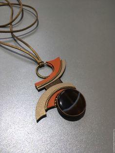 Купить Украшение из кожи кулон с сердоликом Волна - украшение из кожи, кулон, с сердоликом, Сердолик, с камнем