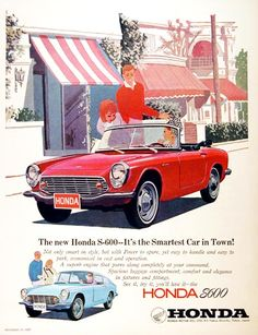 1966 Honda S600 Convertible Roadster original vintage advertisement. Also features the Fastback Coupe illustrated in vivid color.