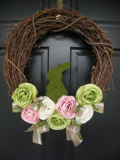Moss Bunny Ranunculus Easter Wreath by Daulhouseshop on Etsy, #diy decorating ideas #diy gifts| http://diyfashionmaida.blogspot.com