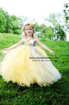 Tutu dress in mustard and gray yelllow and by YourSparkleBox, $109.95