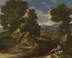 Landscape with a Man Scooping Water from a Stream - Nicolas Poussin.  c.1637.  Oil on canvas.  63 x 77.7 cm.  The National Gallery, London, UK.