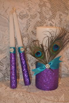 Peacock Unity Candle Purple/ teal glitter Unity by MyKreations4U, $40.00