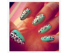 Teal/Leopard Nails