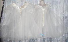 VTG Fancy Bridal White Sheer Chiffon Babydoll Peignoir Robe Nightgown Gown Set #notags